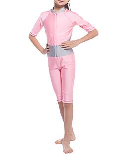 billige Badetøj til piger-Pige Ensfarvet Patchwork Badetøj, Nylon Lycra Guld Lyserød