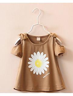 billige Pigetoppe-Pige Blomstret Kortærmet T-shirt