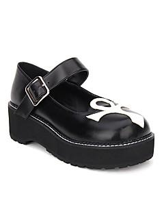 billiga Lolitamode-Skor Gotisk Lolita Punk Lolita Gotiskt Punk Creepers Skor Lappverk 5cm CM Svart Till PU-läder / Polyuretan Läder