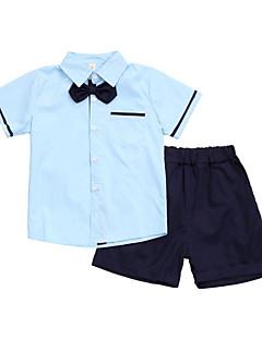 tanie Odzież dla chłopców-Dla chłopców Codzienny Szkoła Jendolity kolor Komplet odzieży, Bawełna Poliester Lato Krótki rękaw Podstawowy Niebieski White Blushing