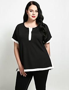 billige Dametopper-Løstsittende Store størrelser T-skjorte Dame - Fargeblokk, Lapper Gatemote Arbeid