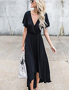 cheap Women's Dresses-Women's Going out / Holiday Sophisticated Swing Dress - Solid Colored Black Maxi Deep V