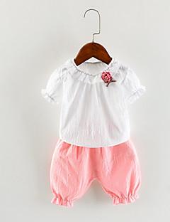 billige Tøjsæt til piger-Pige Daglig Ferie Ensfarvet Tøjsæt, Bomuld Akryl Forår Sommer Uden ærmer Vintage Sødt Blå Lyserød