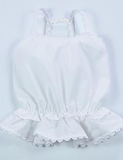 billige Babyoverdele-Baby Pige Bluse Daglig Ferie Ensfarvet, Bomuld Sommer Uden ærmer Sødt Hvid