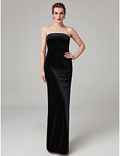 cheap Celebrity Dresses-Sheath / Column Strapless Floor Length Velvet Formal Evening Dress with Split Pleats by TS Couture®