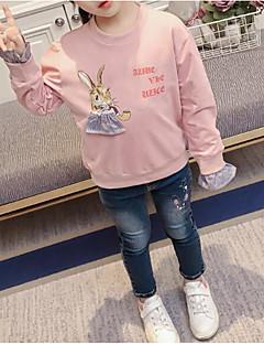 billige Hættetrøjer og sweatshirts til piger-Pige Hættetrøje og sweatshirt Blomstret, Bomuld Polyester Forår Langærmet Simple Lyserød Lysegrøn