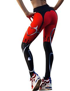 billiga Träning-, jogging- och yogakläder-Dam Yoga byxor - Svart / röd sporter Grafisk Cykling Tights / Leggings Sportkläder Dans, Snabb tork Elastisk