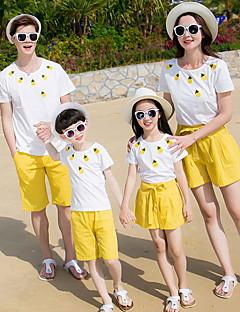 billige Sett med familieklær-Barn Familie Look Blomstret Kortermet T-skjorte