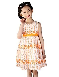 billige Pigekjoler-Børn Pige Ensfarvet Trykt mønster Uden ærmer Kjole