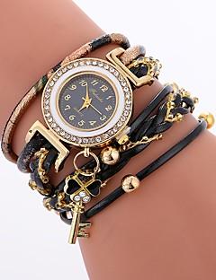 billige Armbåndsure-Dame Quartz Armbåndsur Kinesisk Imiteret Diamant Afslappet Ur PU Bånd Afslappet Bohemisk Sort Hvid Blåt Rød Brun Himmelblå