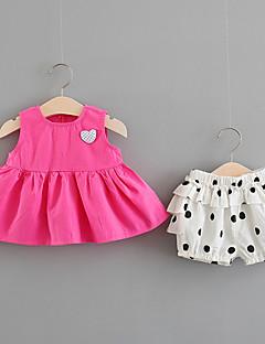billige Tøjsæt til piger-Baby Pige Ensfarvet / Trykt mønster / Farveblok Uden ærmer Tøjsæt