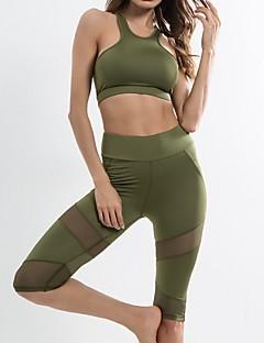 billiga Träning-, jogging- och yogakläder-Dam Sport-BH med joggingbyxor sporter Elastan Klädesset Ärmlös Sportkläder Tränare, Yoga Elastisk