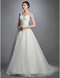 billiga A-linjeformade brudklänningar-Prinsessa Smala axelband Hovsläp Organza Bröllopsklänningar tillverkade med Bård / Bälte / band / Veckad av LAN TING BRIDE® / Öppen Rygg