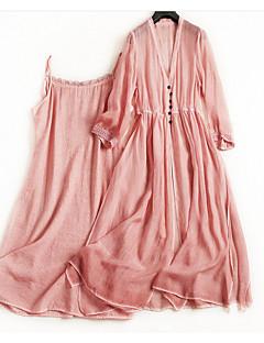 billige Damekjoler-Dame Gatemote A-linje / T skjorte Kjole - Ensfarget, Perler Midi
