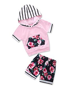 billige Tøjsæt til piger-Baby Pige Stribet Blomstret Kortærmet Tøjsæt