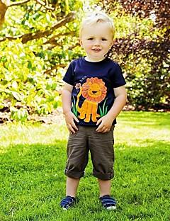 billige Overdele til drenge-Børn / Baby Drenge Løve Patchwork Kortærmet T-shirt