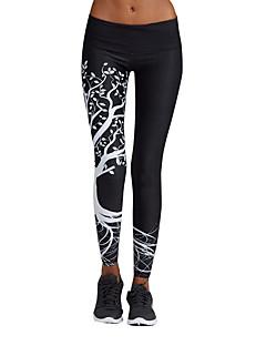 billige Løbetøj-Dame Løbetights - Hvid, Sort Sport Geometrisk Tights / Leggins / Underdele Sportstøj Hurtig Tørre, Åndbarhed Høj Elasticitet