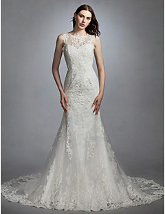 cheap High-end Wedding Dresses-Mermaid / Trumpet Jewel Neck Chapel Train Lace / Tulle Made-To-Measure Wedding Dresses with Appliques by LAN TING BRIDE® / See-Through