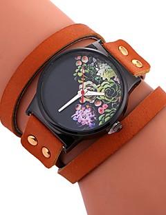 billige Armbåndsure-Dame Armbåndsur Kinesisk Stor urskive / Afslappet Ur PU Bånd Blomst / Mode Sort / Hvid / Rød