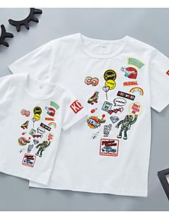 billige Sett med familieklær-Voksen / Barn Gutt Geometrisk Kortermet T-skjorte