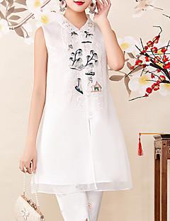 billige Dametopper-Silke Skjortekrage Skjorte Dame - Blomstret, Broderi Vintage / Gatemote Ferie