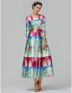 billiga Cocktailklänningar-Prinsessa Prydd med juveler Ankellång Mikado Formell kväll Klänning med Mönster / tryck av TS Couture®