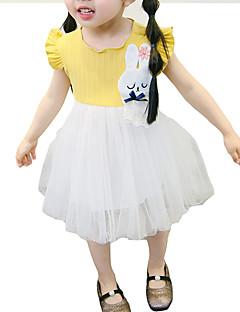 billige Pigekjoler-Baby Pige Farveblok Kortærmet Kjole