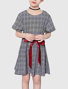 billige Pigekjoler-Børn Pige Ternet Kortærmet Kjole