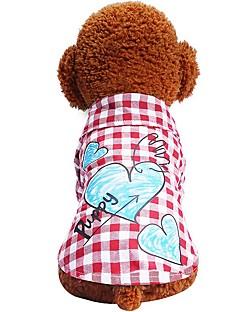 billiga Hundkläder-Hund Katt Husdjur T-shirts Hundkläder Pläd / Rutig Kärlek Citat och ordspråk Röd Blå Bomull / Polyester Kostym För husdjur Dam Prickig &