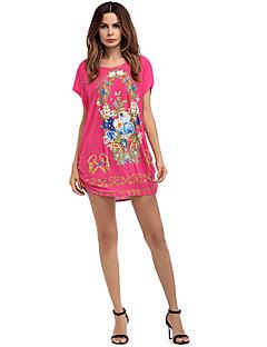 billige Minikjoler-Dame Basale T Shirt Kjole - Geometrisk / Farveblok Mini
