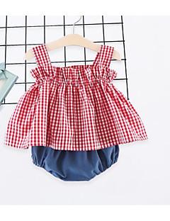 billige Pigetoppe-Børn Baby Pige Houndstooth mønster Uden ærmer Undertrøje og cami-top