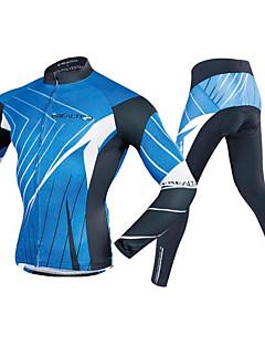billige Sykkelklær-Realtoo Herre Langermet Sykkeljersey med tights - Blå / Svart Sykkel Klessett, 3D Pute Polyester, Spandex Linjer / bølger / Elastisk