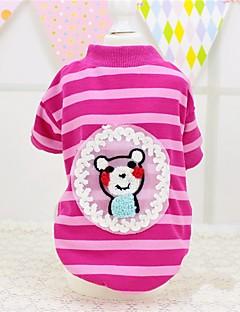 billiga Hundkläder-Hund / Katt / Husdjur T-shirt Hundkläder Randig / Ord / fras / Tecknat Grön / Rosa Cotton Kostym För husdjur Dam söt stil / Djurmönstrad