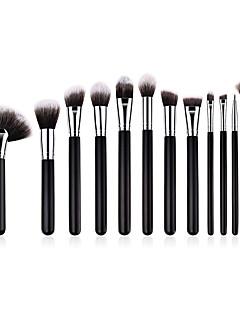 billige Sminkebørstesett-12pcs Makeup børster Profesjonell Børstesett Nylon Fiber Økovennlig / Myk Tre / Bambus