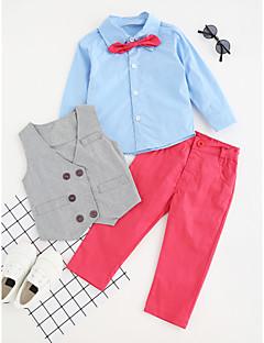 billige Tøjsæt til drenge-Drenge Tøjsæt Ensfarvet Farveblok, Bomuld Polyester Efterår Forår, Efterår, Vinter, Sommer Langærmet Afslappet Aktiv Rød