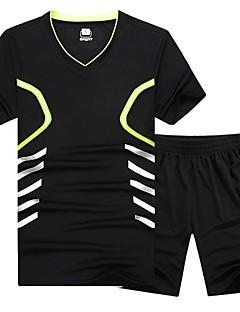 お買い得  メンズTシャツ&タンクトップ-男性用 スポーツ プラスサイズ セット ベーシック Vネック カラーブロック / 半袖