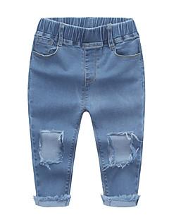 billige Jeans til piger-Børn Pige Ensfarvet Jeans