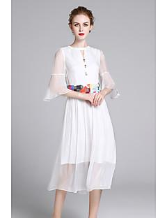 Χαμηλού Κόστους ZIYI-Γυναικεία Εξόδου Μετάξι Λεπτό Θήκη Φόρεμα - Μονόχρωμο Μίντι