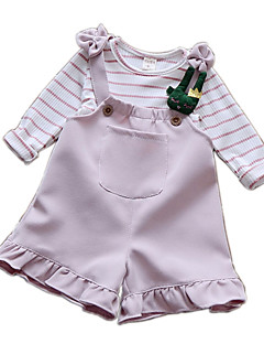 billige Babytøj-Baby Pige Stribet Langærmet Tøjsæt