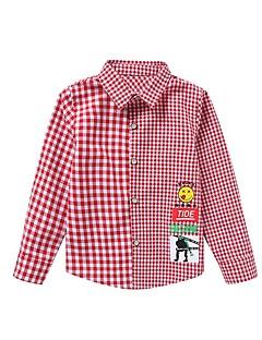 billige Overdele til drenge-Børn Drenge Houndstooth mønster Langærmet Skjorte