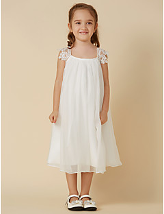 cheap Flower Girl Dresses-Sheath / Column Knee Length Flower Girl Dress - Chiffon Lace Sleeveless Scoop Neck with Pleats by LAN TING BRIDE®