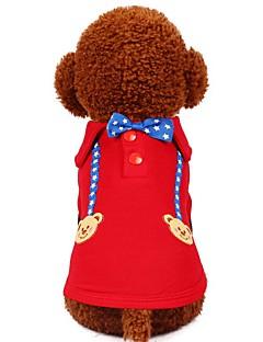 billiga Hundkläder-Hund Katt Husdjur T-shirt Hundkläder Mönstrad Stjärnor Tecknat Röd Blå Bomull / Polyester Kostym För husdjur Dam Gulligt Mode