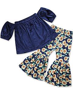 billige Tøjsæt til piger-Baby Pige Ensfarvet Trykt mønster Kortærmet Tøjsæt