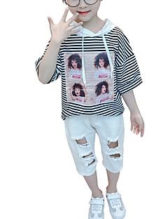 billige Tøjsæt til piger-Baby Pige Stribet Halvlange ærmer Tøjsæt
