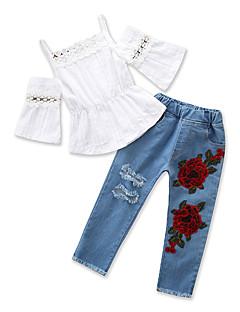 billige Tøjsæt til piger-Baby Pige Ensfarvet Halvlange ærmer / Kortærmet Tøjsæt