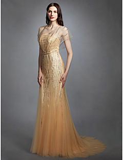 billiga Trumpet-/sjöjungfrubrudklänningar-Åtsmitande V-hals Svepsläp Tyll Bröllopsklänningar tillverkade med Paljett av LAN TING BRIDE® / Illusion / Brudklänning i färg