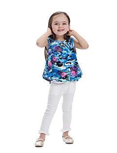 billige Pigetoppe-Børn Baby Pige Trykt mønster Farveblok Uden ærmer T-shirt