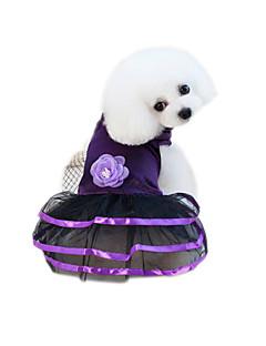 billiga Hundkläder-Husdjur Klänningar Hundkläder Voiles & Skira / Blomma Purpur / Blå Bomull / Polyester / Nät Kostym För husdjur Blomstil / söt stil