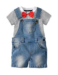 billige Tøjsæt til piger-Baby Unisex Stribet Kortærmet Tøjsæt