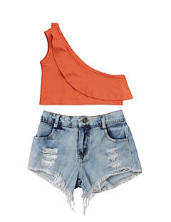 billige Tøjsæt til piger-Baby Pige Ensfarvet Uden ærmer Tøjsæt